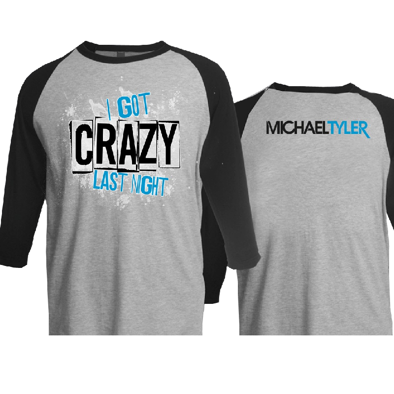 Michael Tyler Heather Grey and Black Raglan Tee